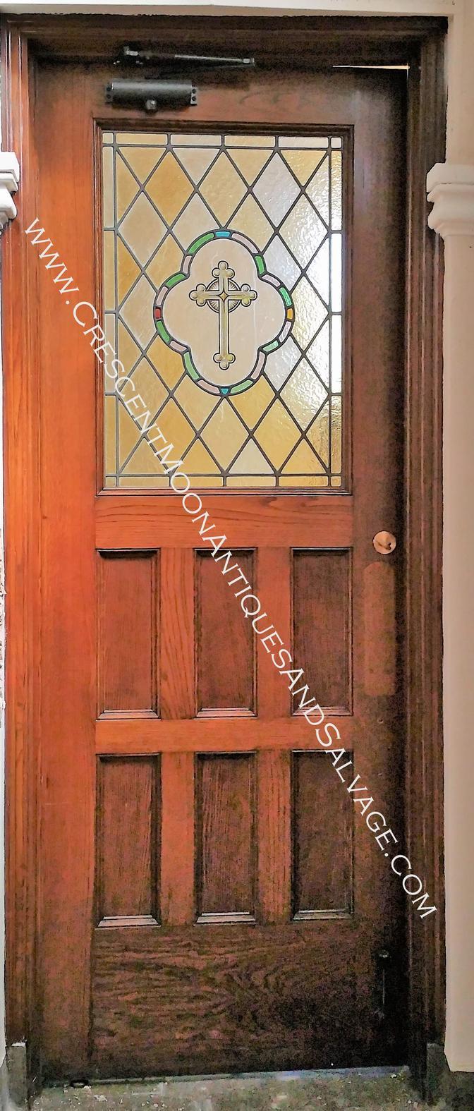 Six Panel Oak Door Upper Stained Glass Crescent Moon