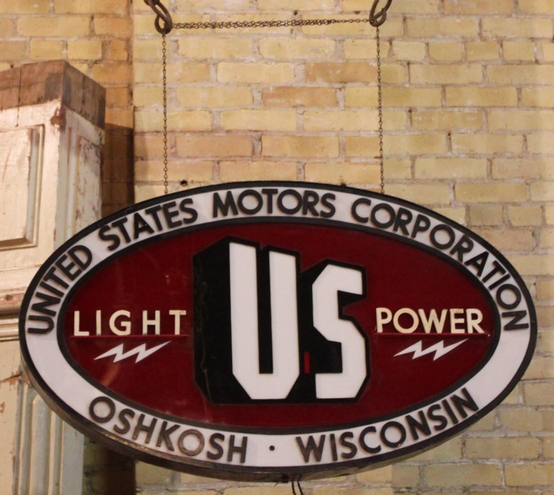 Advertising Sign UNITED STATES MOTORS CORPORATION OSHKOSH WISCONSIN