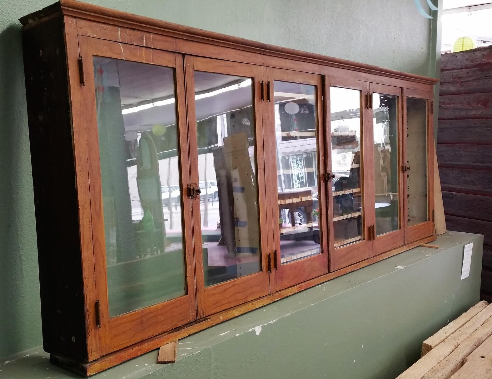Upper Cabinet with Glass Doors   Crescent Moon Antiques