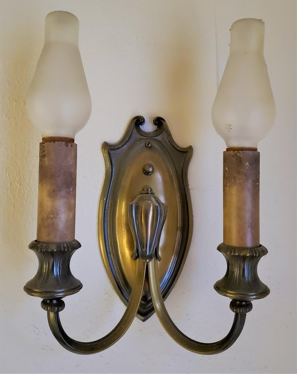 Brass Double-Candle Sconce-s