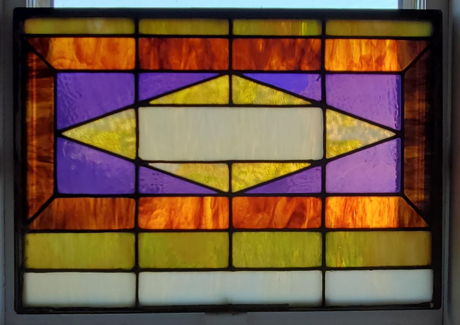 Industrial Steel Framed Stained Glass Window