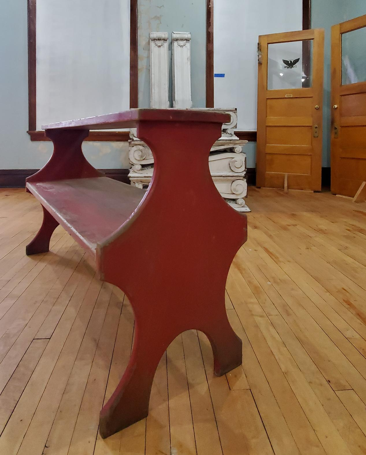 Weathered Red Painted Wood Plant Stand