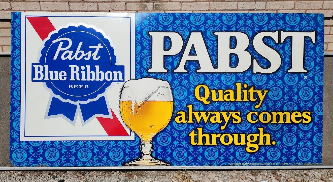 LARGE Antique Original Pabst Blue Ribbon Beer Sign