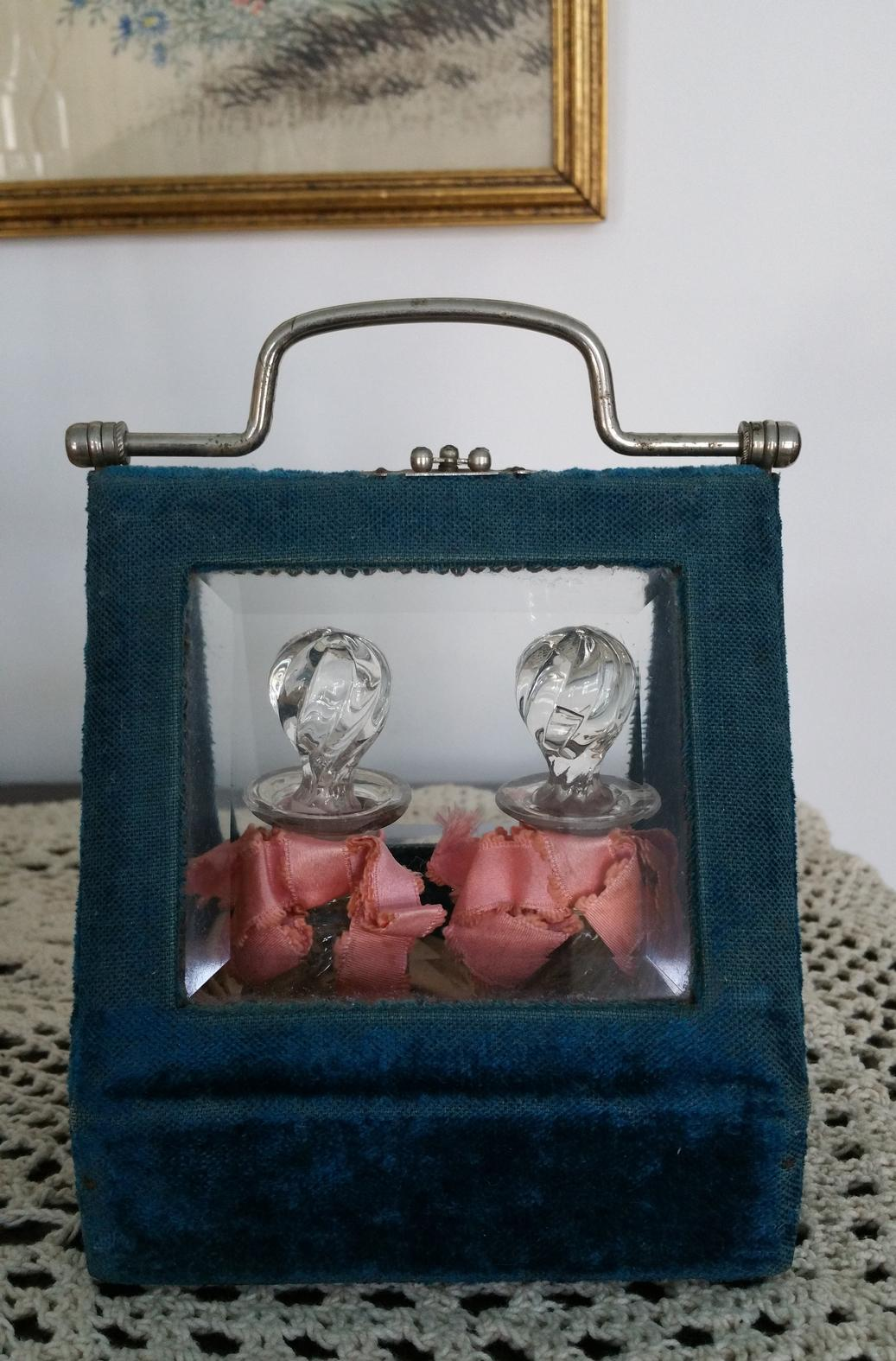Curated Antique Crystal Perfume Bottles in Presentation Case
