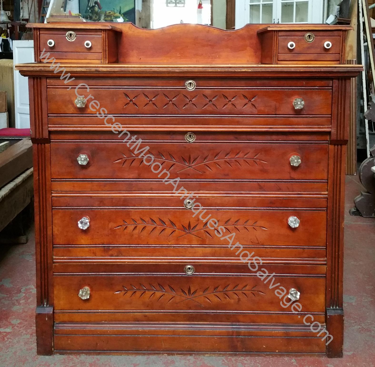 Eastlake Dresser Hankie Drawers Crystal Knobs