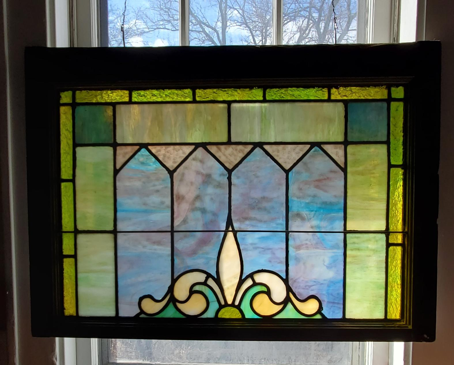 Fleur de Lis in Spring Stained Glass Window 006