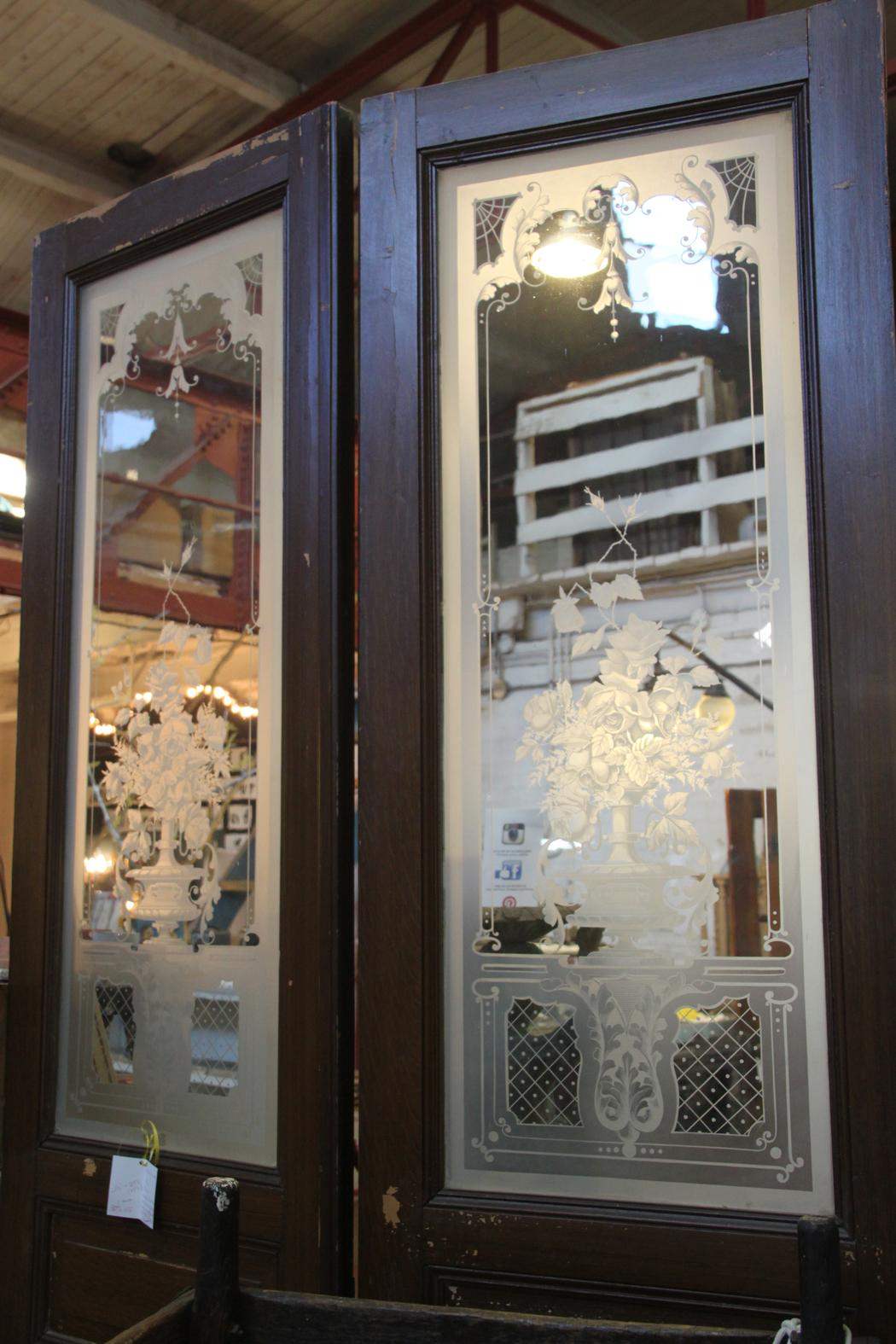 30 off pair large french doors with etched glass for Large glass french doors