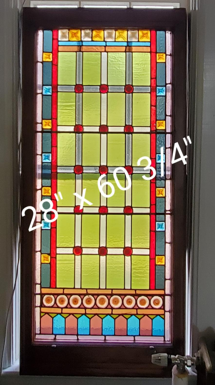 Large Multi-Jewel Stained Glass Window