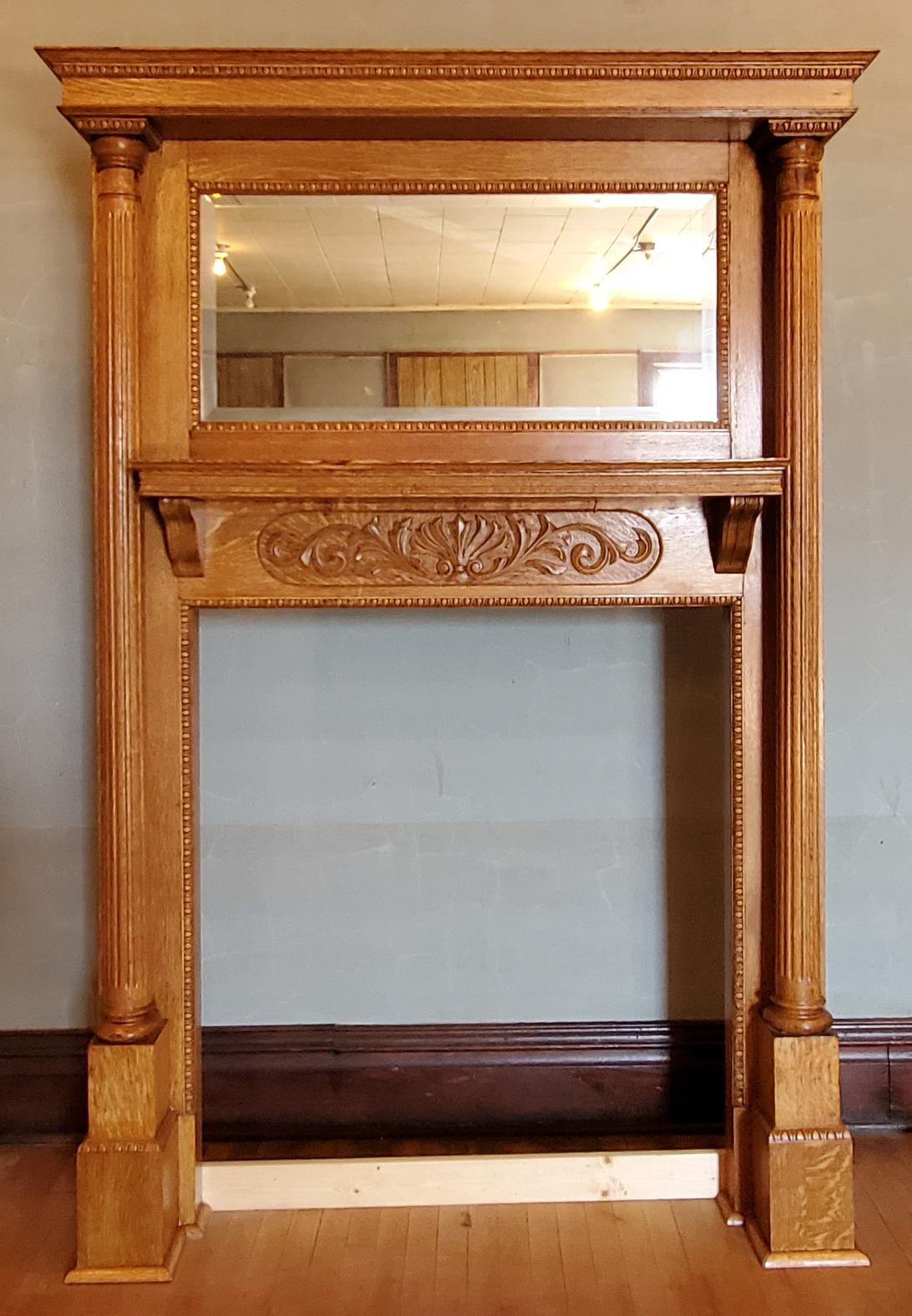 Oak Fireplace Mantel with Mirror